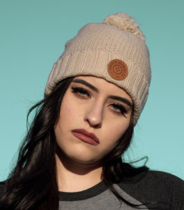 Knit Hat with Leather Patch